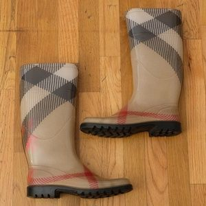 BURBERRY Big Check Rain Boots | Women Sz 38 Italy